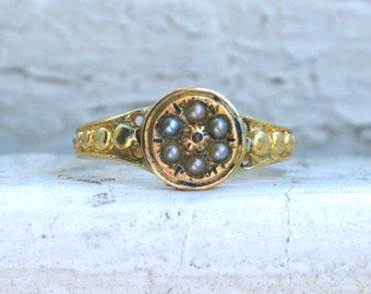 Sweet British Antique Victorian 15K Yellow Gold Pearl and Diamond Ring Engagement Ring dated 1870.