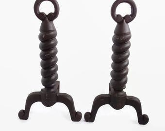 Cast Iron Andiron, Vintage Cast Iron Fire Dog, Spiral Twist Fireplace Andirons