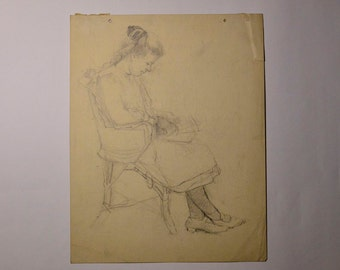 Original Sketch Of Woman Knitting In A Chair circa 1800s