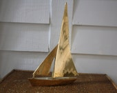 brass sailboat, vintage brass boat, sailboat, metal sailboat, nautical, beach house decor, solid brass, office, man cave