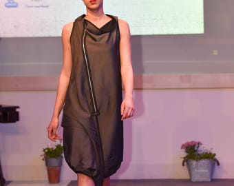 Loose black dress / Loose grey dress / Two in one dress / Two faces dress / Sleeveless asymmetrical dress