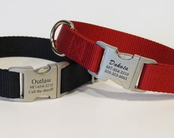 Personalized Dog Collar - All Metal Buckle Laser Engraved With 16 Webbing Colors To Choose From