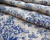 Victorian Flower Blue,Victorian Flower Print tablecloth 150/140 cm, organic linen thread ball
