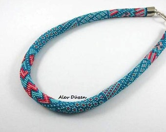 AN068 - Turquoise - Pink  ColorBead Crochet Necklace - Handmade Necklace - Seed Beadd - Crochet Necklace - Woman Necklace - Beaded Necklace