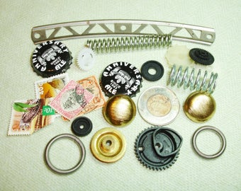 Steampunk Art Supply Lot - Springs, Coin, Stamps, Gears