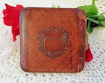 Vintage Brown Leather Lin Bren Powder Compact