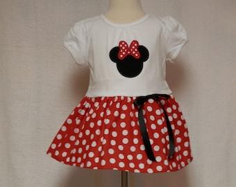 Toddler dress,Minnie Mouse dress,gathered skirt,infant dress,party dress,red polka dot dress,applique dress,embroidery dress