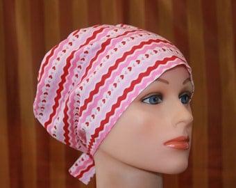 Scrub Hats, Tie Back Scrub Hat/Chemo Hat/Womens scrub hat/Surgical Scrub Hat, Scrub cap--Pretty in Pink