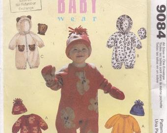 1997's McCalls Sewing Pattern 9084 - Babies Jumpsuit Mittens Hat Uncut - Factory Folded