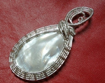 Wire Wrapped and Wire Woven Mother of Pearl  Pendant