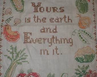 Complete Cross Stitch *Yours Is The Earth and Everything In It* Kitchen Decor *Country Cottage*