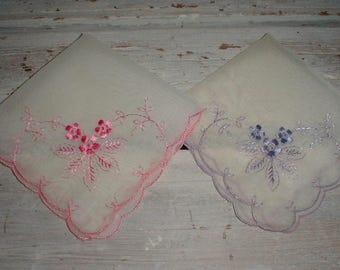 Two Dainty Nylon Hankies W/Embroidered Pink & Lavender Flowers *Scalloped Edges*