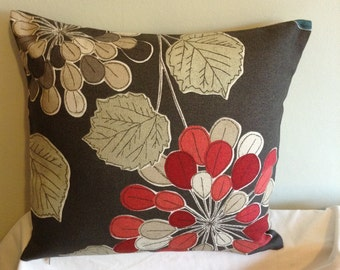 "Retro modern brown, red flowered 16"" x 16"" cushion cover, scatter cushion, pillow case"