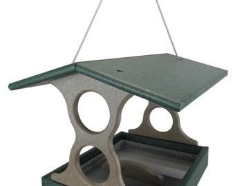 JCs Wildlife Medium Green/Tan Poly Fly-Thru Bird Feeder w/ Removable Seed Tray