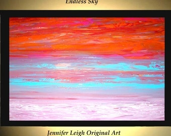 Original Large Abstract Painting Modern Acrylic Painting Oil Painting Canvas Art ENDLESS SKY Orange Blue 36x24 Textured Wall Art  J.LEIGH