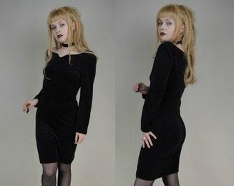 80s 90s Grunge Goth Black Velvet Boat Neck Bodycon Mini Dress S