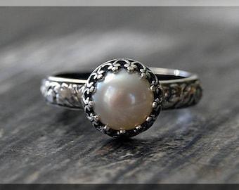 Sterling Silver Pearl Ring, June Birthstone Ring, Crown Bezel Ring, Gemstone Ring, Luminous Pearl Stacking Ring, Flower Detail Shank Ring