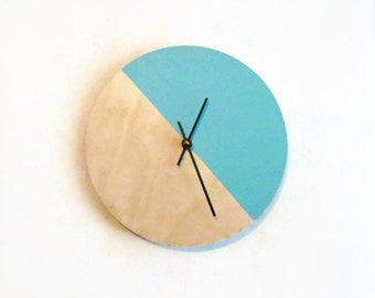 Wall Clocks, Teal Green Wood Clock, Housewares, Home and Living, Unique Wall Clock
