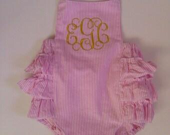 gold monogrammed pink seersucker ruffled sunsuit/ ruffle bum romper/ pink vine monogram/ first birthday outfit/ new baby gift/swirl monogram