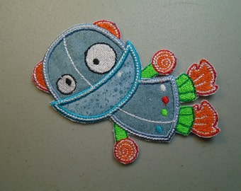 Flying Robot embroidered iron on applique or patch