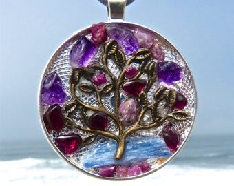 Mother Earth TREE of LIFE with Mandala Backing. NEW Tactile Collection. Touch the Rubies, Amethysts, Garnets and Kyanite.