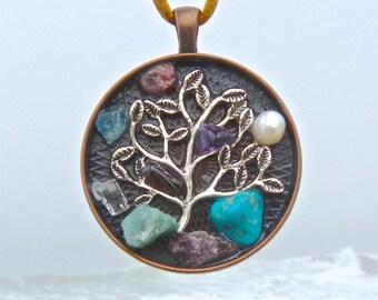 8 Birthstones Tree of Life Pendant. Turquoise, Amethyst, Aquamarine, Emerald, Ruby, Topaz, Pearl and Garnet with Copper mandala.