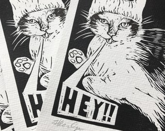 Pussyhat postcards womens march linocut print funny cat postcard