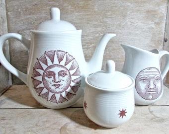 Solstice Teapot, Sun Moon Stars, Tall Porcelain Tea Pot, Yule Tea or Coffee, Cakes and Ale, Tea set, creamer, sugar bowl, Ready to Ship
