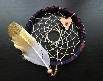 sale - Mini Dream Catcher - blue and purple - gold feather - dreamcatcher - wingedwhimsy