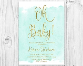 Aqua mint turquoise and gold foil watercolor baby shower invitation