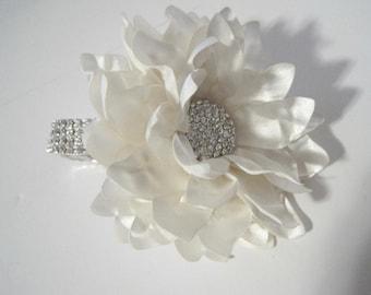 Corsage Stunning Ivory Satin Rhinestone Wrist Corsage Bracelet Bridesmaid Mother of the Bride Prom with Rhinestone Accent Custom Order