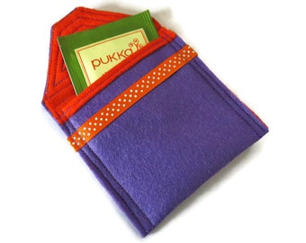Lilac Felt Tea Bag Holder - Travel Case for Tea Bags - Felt Tea Bag Pouch - Handbag Tea Bag Pouch