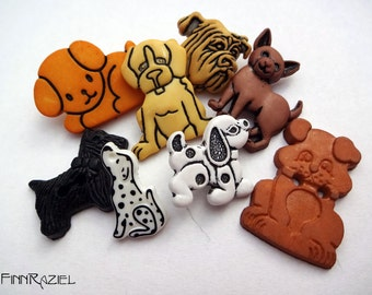 Button set with 8 different dogs