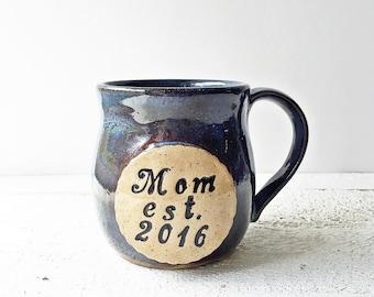 Personalized Pottery Coffee Mug, Ceramic Handmade Mug, Handthrown Mug, Large Coffee Mug, Stoneware Mug, Blue Pottery Mug, Mom Mug