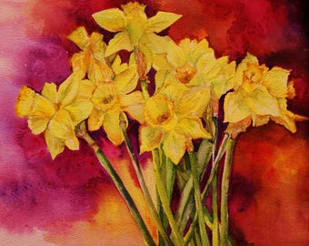 Daffodil Flower Painting- Original Watercolor Spring flowers REDUCED