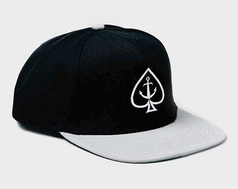 Black Ace & Anchor Snapback Cap by Art Disco