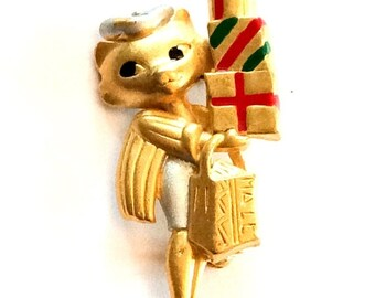 Cat Bearing Gifts Pin or Brooch, Celebration, Danecraft Vintage Jewelry CHRISTMAS Sale
