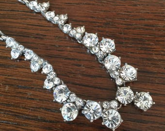 Bogoff Dangly Rhinestone Necklace, Art Deco 1940s Vintage Jewelry SUMMER SALE