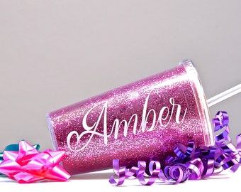 GLITTER TUMBLER, Personalized Sparkle Cup, Bridesmaid gift, Bride Sparkle Cup, Flower Girl Glitter Cup, Flower Girl Gift, Glitter Cup