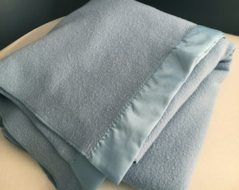 Faribo Blanket Slate Blue Pure Merino Wool Vintage Made in USA