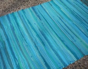 Bermuda Blue Rag Rug Handwoven 2' x 3'