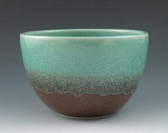 Serving Bowl Small Handmade Ceramic in Aqua and Rust