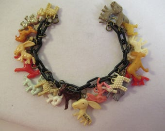 "Vintage 1930-1950 ""DEM"" DEMOCRATIC Party DONKEY  charm bracelet Celluloid/plastic/metal clad plastic/pearly"