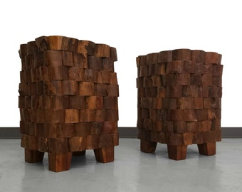 Pair of Stacked Wood End Cut Brutalist Style Side Tables