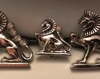 Original Vintage SWANK Egyptian Jeweled Lion Cufflink Set