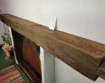 "Reclaimed Barnwood Beam Fireplace Mantle Barn Wood Shelf 95"" Long Barn Wood Beam"