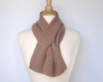 Brown Keyhole Scarf, Pull Through Neck Scarf, Angora Merino Wool, Short Knit Scarf, Womens Neck Warmer, Soft Natural Tan