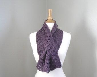 Plum Purple Keyhole Scarf, Pull Through Scarf, Hand Knit Merino Wool, Short Neck Scarf, Office Wear