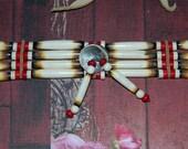 Native American Handcrafted Burnt Bone Indian Head Choker