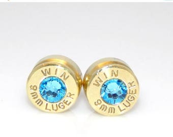 30% OFF SALE Bullet Casing Earrings. March Birthstone. Aquamarine. 9mm Luger.